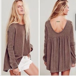 Free people low back shirred pullover sweatshirt